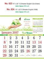R624 English(Go-Green) Monthly Calendar 2017