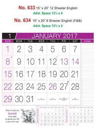 R634 English Monthly Calendar 2017