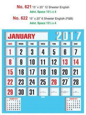 R622 English (F&B)  Monthly Calendar 2017