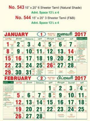 R543 Tamil(N.Shade) Monthly Calendar 2017