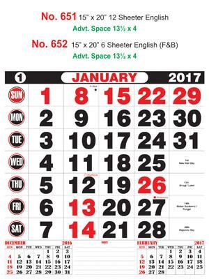 R651 English Monthly Calendar 2017