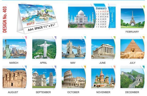 T403 Wonders of the World Table Calendar 2017