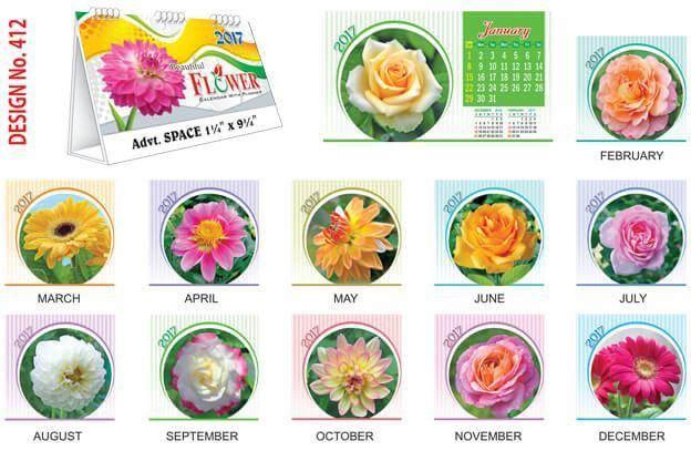 T412 Beautiful Flowers Table Calendar 2017