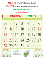 R574 English(F&B) Monthly Calendar 2018 Online Printing