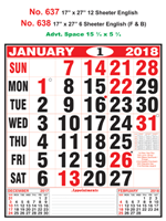 R637 English Monthly Calendar 2018 Online Printing