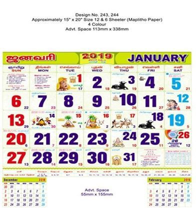 P243 Tamil  Monthly Calendar 2019 Online Printing