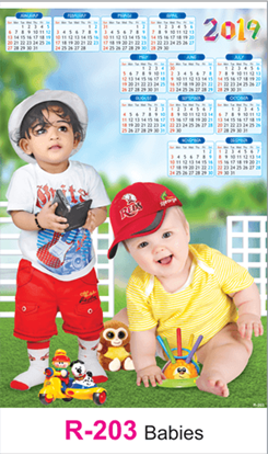 R-203 Babies Real Art Calendar 2019
