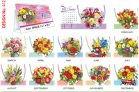T412 Flowers  Table Calendar 2019