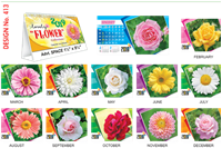 T413 Lovely Flowers  Table Calendar 2019