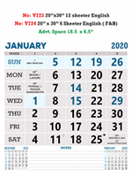 V724  English(F&B) Monthly Calendar 2020 Online Printing