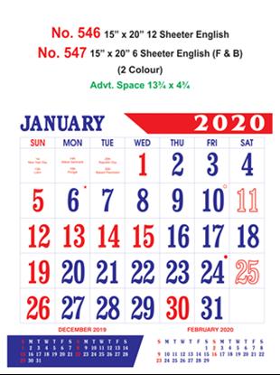 R547 English (F&B) Monthly Calendar 2020 Online Printing