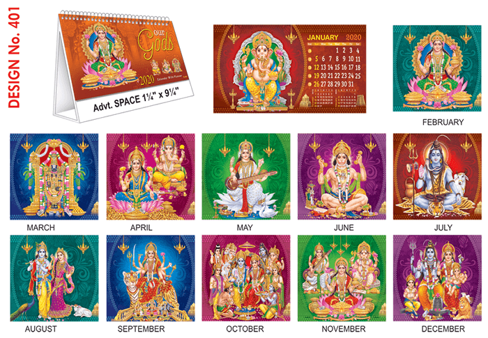 T 401 Our Gods - Table Calendar With Planner Online Printing  2020