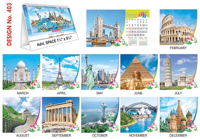 T 403 Wonder Of The World - Table Calendar With Planner Online Printing 2020