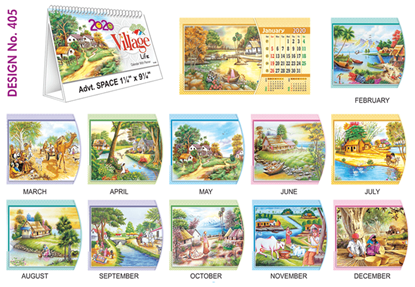 T 405 Village Life  - Table Calendar With Planner Online Printing 2020