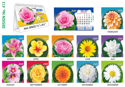 T 413 Lovely Flowers  - Table Calendar With Planner Online Printing 2020