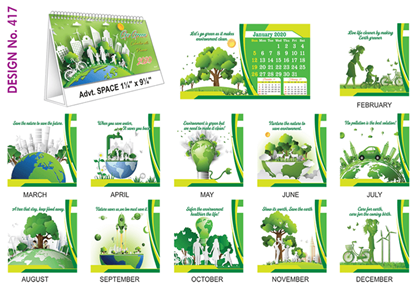 T 417 Go Green  - Table Calendar With Planner Online Printing 2020