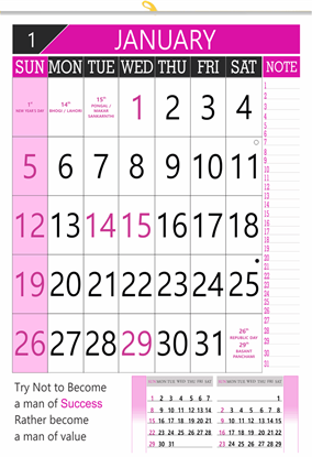 "V803 13x19"" 12 Sheeter Monthly Calendar 2020"