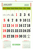 "V815 13x19"" 12 Sheeter Monthly Calendar 2020"