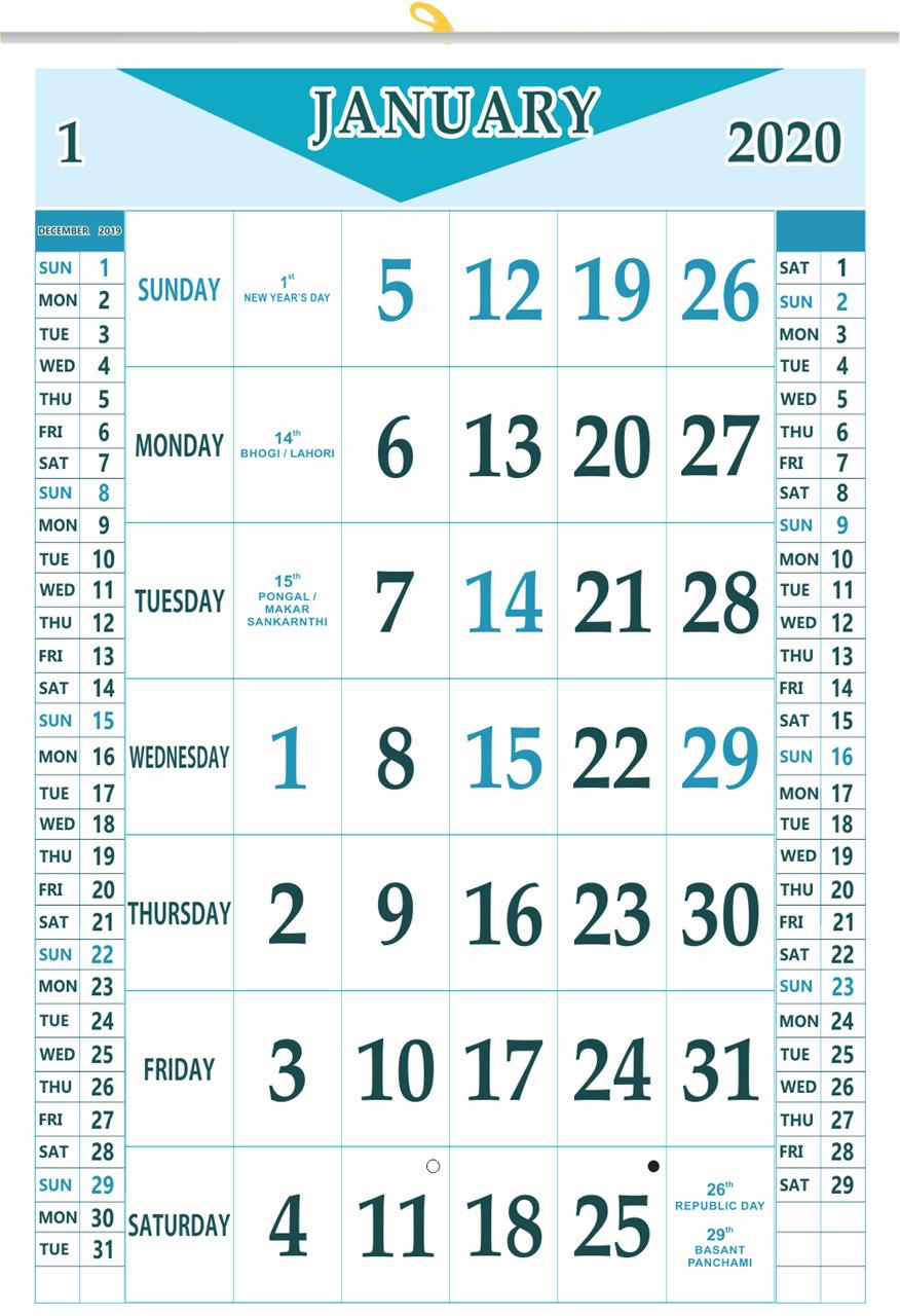 """V839 13x19"""" 12 Sheeter Monthly Calendar 2020"""