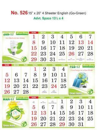 R526 English(Go-Green) Monthly Calendar 2017