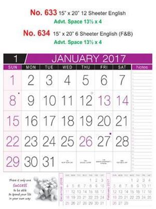 R633 English Monthly Calendar 2017