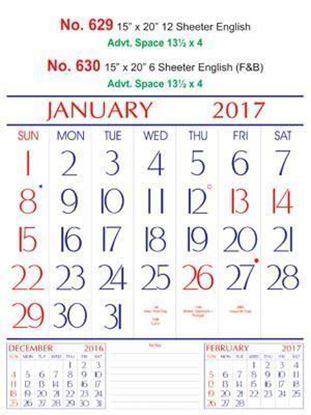 R630 English(F&B)  Monthly Calendar 2017