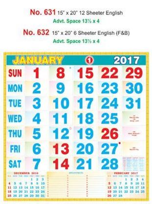 R631 English Monthly Calendar 2017