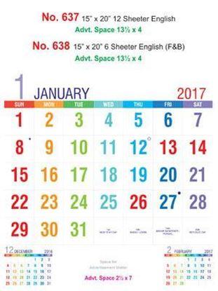 R637 English Monthly Calendar 2017