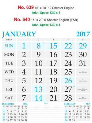 R640 English (F&B) Monthly Calendar 2017