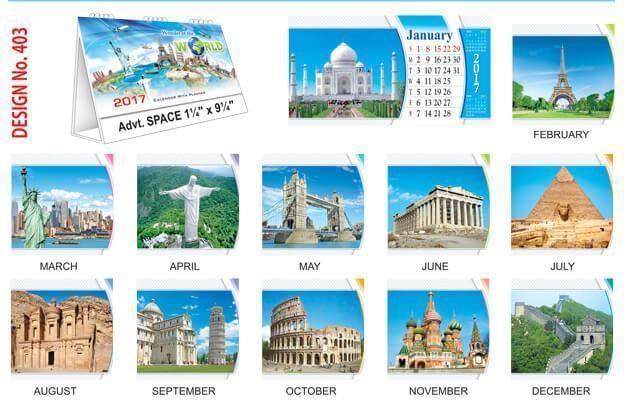 T403 Wonders of the World Table Calendar 2017