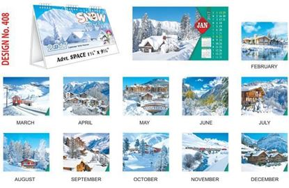 T408 Snow Scenery Table Calendar 2017