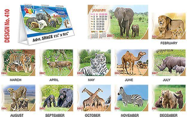 T410 Wild Animals Table Calendar 2017