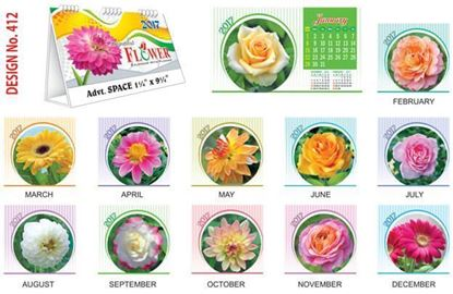 T412 Beautiful Flowers Table Calendar 2017
