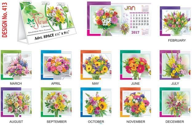 T413 Floral Collection Table Calendar 2017