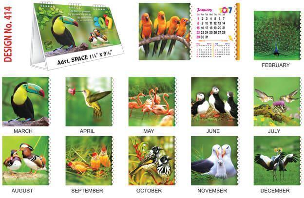 T414 Bird Table Calendar 2017