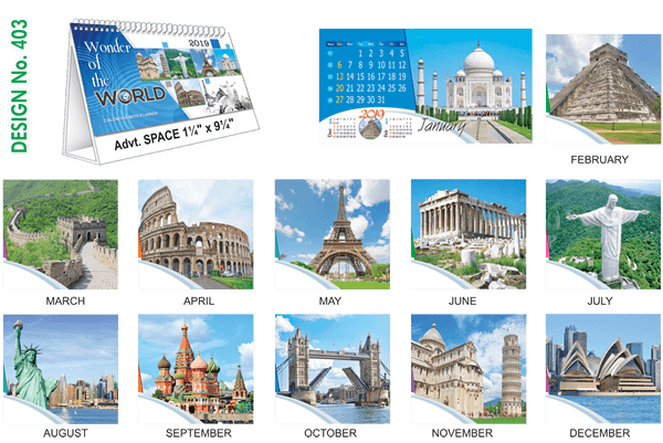 T403 World Wonders Table Calendar 2019