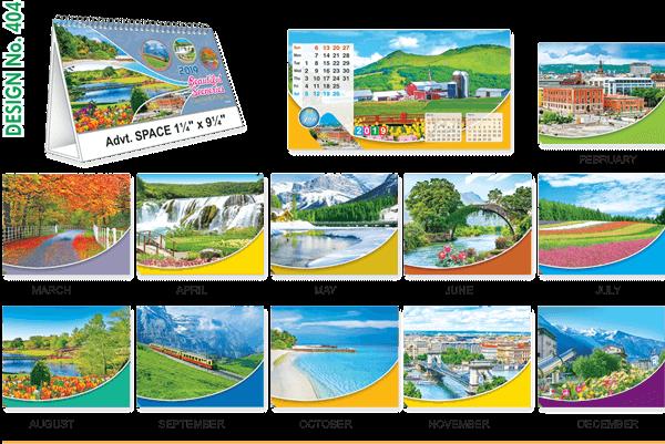 T404 Scenery  Table Calendar 2019