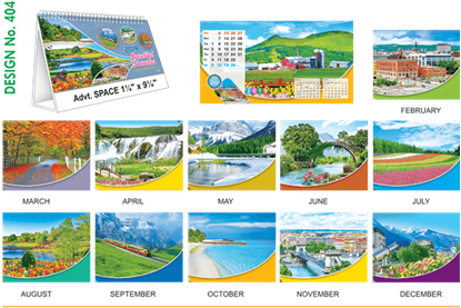 T404 Scenery  Table Calendar 2019