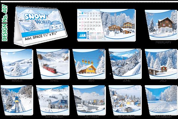 T407 Snow World Table Calendar 2019
