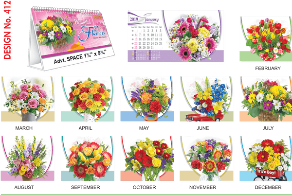 T412 Flowers  Table Calendar 2019