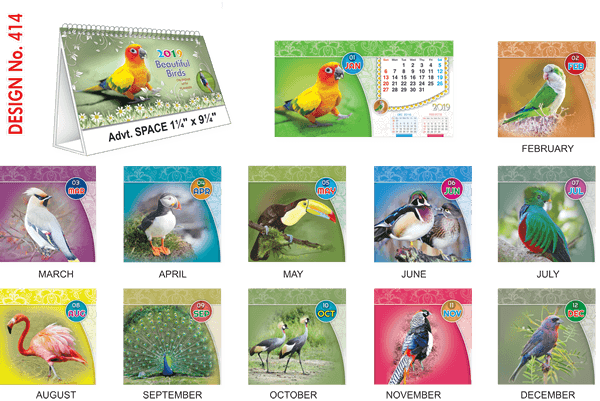 T414 Beautiful Birds  Table Calendar 2019