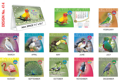 T414 Beautiful Birds  Table Calendar 2019
