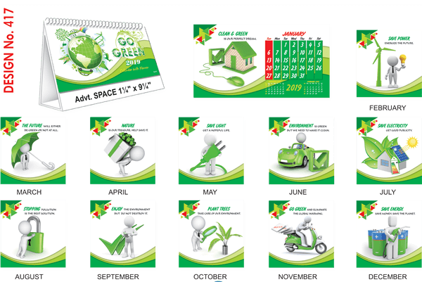 T417 Go Green Table Calendar 2019