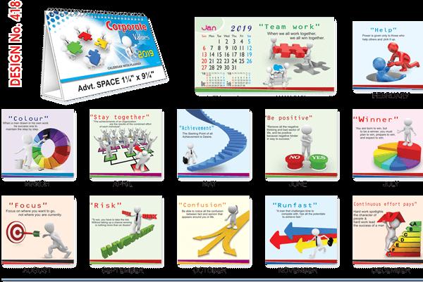 T418 Corporate Values Table Calendar 2019