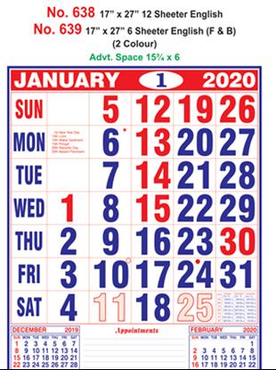 R638 English Monthly Calendar 2020 Online Printing