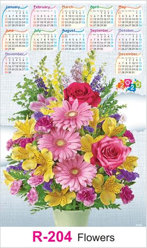 R 204 Flowers Real Art Calendar 2020 Printing