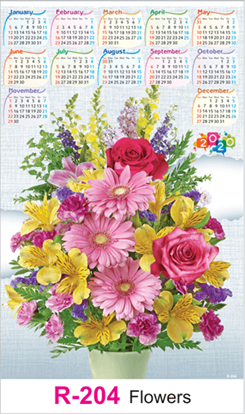 R 204 Flowers Real Art Calendar 2020 Printing