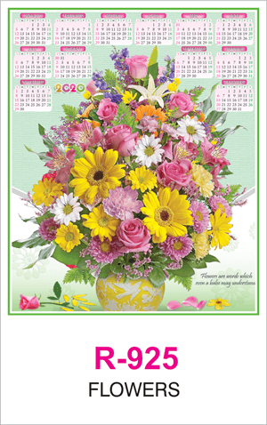 R 925 Flowers Real Art Calendar 2020 Printing