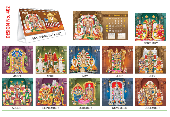 T 402 Sri Balaji - Table Calendar With Planner Online Printing 2020