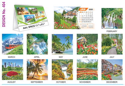 T 404 Beautiful Scenery  - Table Calendar With Planner Online Printing 2020
